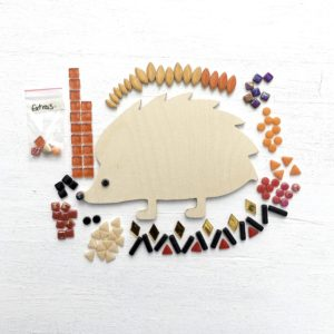 turtle and moon red hedgehog mosaic craft kit contents