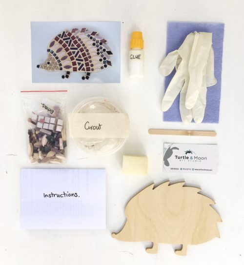 turtle and moon purple hedgehog mosaic craft kit contents