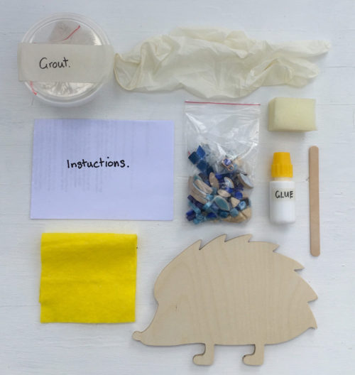 turtle and moon blue hedgehog mosaic craft kit contents