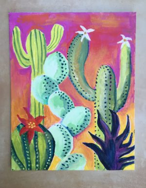 turtle and moon painting party cacti subject