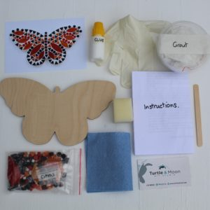 turtle and moon orange butterfly mosaic craft kit contents