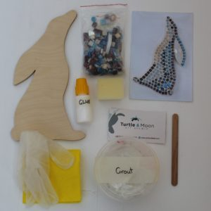 turtle and moon hare mosaic craft kit contents